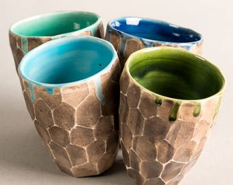 Bicchiere, Hand made, tazza per il tè, bicchiere , terracotta smaltata, bicchiere, gift for him,
