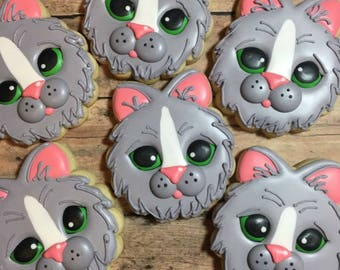 Kitten Cookies, Decorated Kitten Sugar Cookies, Party Favors