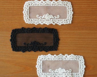 2pcs: Scalloped Rectangular Net Lace Applique with Rose W62mm Black Ivory Off-white Embroidery Label Embellishment Knit Sewing Craft DIY