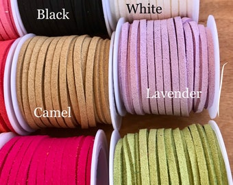 Faux Suede, faux leather, faux jewelry cord,leather lace cord, 5 yards per roll, 25 colors