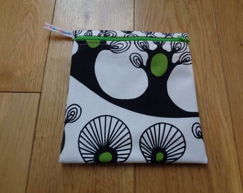 Snack Bag - Bikini Bag - Lunch Bag  - Zero Waste Medium Poppins Waterproof Lined Zip Pouch - Sandwich bag - Eco - Abstract Trees Alien