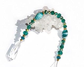 Crystal Suncatcher 28cm point pendulum pendant emerald green gold glass bead window hanger chain ornament hanging decoration jewelry present