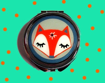 Fox mirror, red fox mirror, sleeping fox face mirror, fox accessories, animal, birthday gift, teens gift, kids accessories