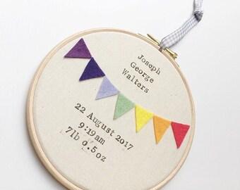 Rainbow Personalised Birth Details and Bunting Wall Hanging - Naming Hoop - Rainbow Baby