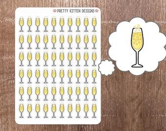 Champagne Planner Stickers | 60 Stickers | Matte Removable | Erin Condren Life Planner, Kikki K, Plum Paper