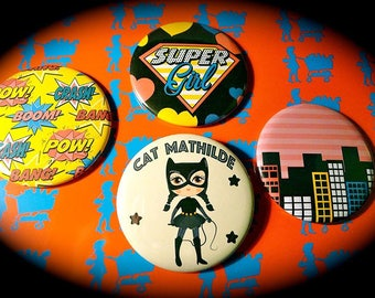 Customizable set of 4 magnets 56 mms 'Super Hero girl'
