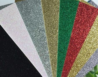 8.5x5.5 Christmas theme Glitter Paper  ~ Card making,craft projects, invitations, stationery, scrapbooking,stickers,