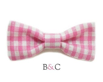 Pink Gingham Bow Barrette.