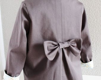 Elegant and unique jacket for girl 2 years, anthracite grey cotton lined floral...