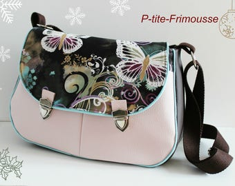 """In imitation and cotton multicolored """"flowers and butterflies"""" shoulder Messenger bag, satchel clasps."""