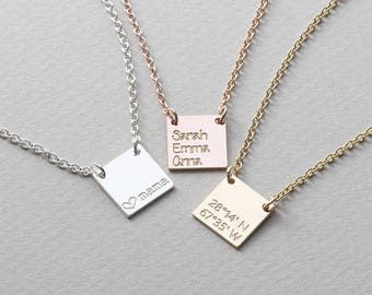 Personalized Coordinates necklace, Initial square  Necklace, Bridesmaid Gift, Gift for her, Name Plate Necklace ( HCN 12.12 NW )