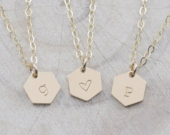 Dainty Hexagon Necklace, Initial Necklace, Minimal Necklace, gold fill,silver,& rosegold fill, wedding gift ( HCN HN 290 OD )