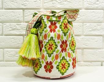 Crocheted Multi-Colored Mochila wayuu tecnique tapestry traditional native crossbody bag,crossbody sac boho bag-HFD0