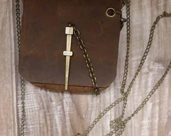 Handmade women's leather necessities bag
