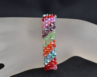 Bracelet crystal Swarovski cuff diagonal multicolored