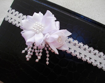 baby baptism 2 headband with white satin flowers
