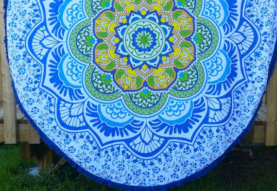Beautiful Blue Ombre tDining Table cover Couch Throw Hippie Wall Tapestry Beach Throw Boho Throw Hippie Throw Mandala round throw Wall art