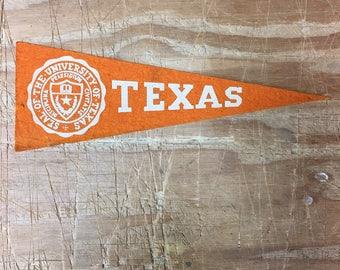 1950's Vintage Texas Longhorns College University Mini Pennant Flag Banner