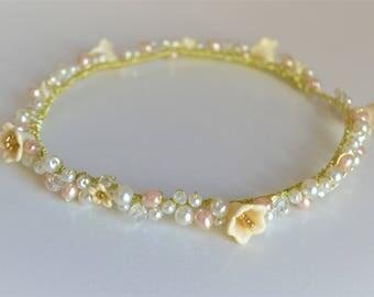 Bridal hair vine wedding hair band hair circlet floral and pearl gold bridal hairpiece flower crown tiara bridal halo headband