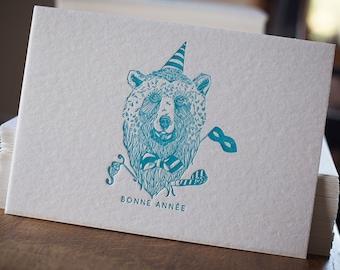 Letterpress greeting card happy new year