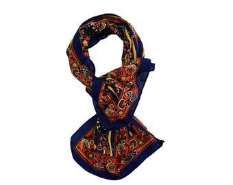 Paisley lightweight 100% Wool scarf long size in blue red.Vintage designer woolen wrap.Unique warm winter scarf.LaZLeP P711A131
