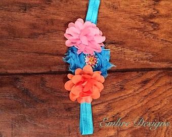 Blue coral pink headband
