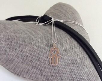 Hamsa necklace, yoga necklace, Hamsa charm, silver pendant, Hamsa hand