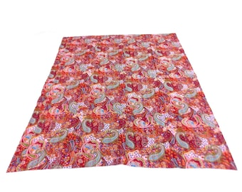 Paisley Design Indigo Handmade Kantha Throw Bedspread Reversible Vintage Quilt in Pink Color
