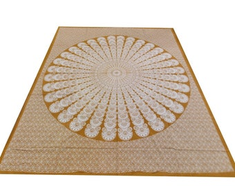 Hand Block Printed Mandala Design Cotton Double Bed Sheet in Brown Color Size 90x108 Inch