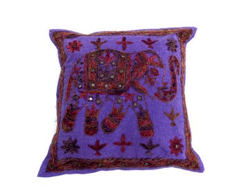 Indian Pure Cotton Cushion Cover Home Elephant Work Decorative Purple  Color Size 17x17""