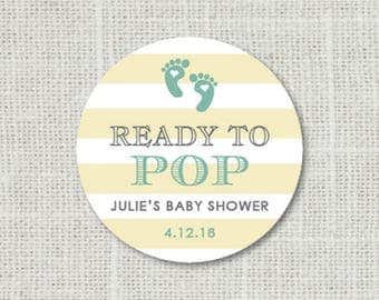 Baby Shower Stickers, Ready To Pop Baby Party Stickers, Baby Shower Favor Stickers, Baby Party Labels