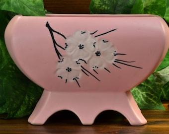 McCoy Pottery Planter, 1961 Pink Spring Wood Planter