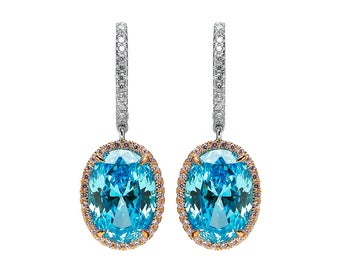 Sparkling Blue Topaz Oval Earrings