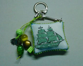 Keychain, charm of 31 hand embroidered bags