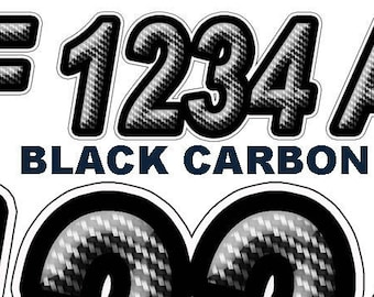 Black Carbon Boat Registration Numbers and Letters Decals Vinyl Names and Custom Text Stickers