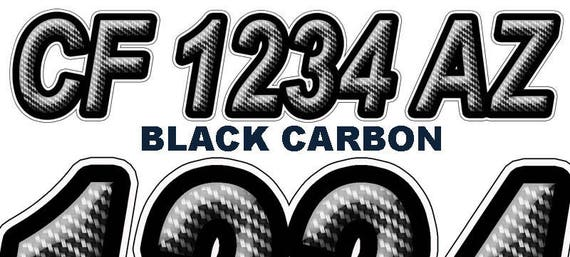 Black Carbon Boat Registration Numbers And Letters Decals Vinyl - Custom boat numbers