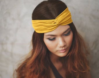 Mustard Yellow Headband, Woman's Headband, Turban Headband