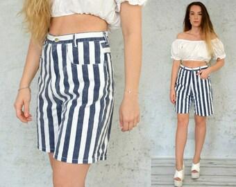 Striped shorts super high waist waisted denim vintage hipster jean woman white blue 1990's Medium