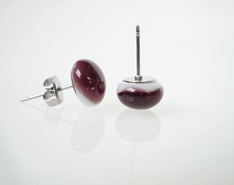 Purple stud earrings, purple glass studs, post earrings, plum earrings, handmade earrings, gift for her, purple glass earrings, dark purple
