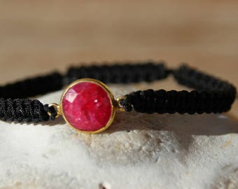 shamballa black nylon with Ruby Pearl String Bracelet
