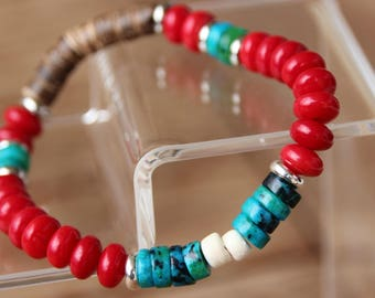 Bracelet with red coral and chrysocolla