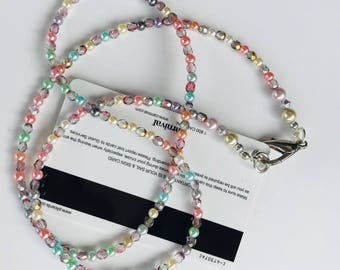 Multi Color Glass Pearl and Crystal  Beaded Lanyard Necklace, Cruise Elegance Lanyard Jewelry, Versatile Jewelry, Cruise Lanyard, Work Badge