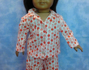 Apple print jammies for American Girl doll