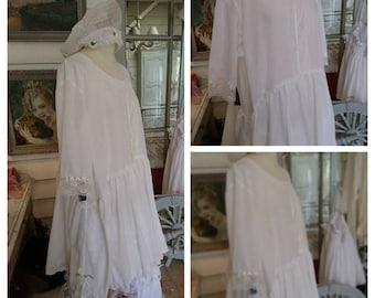 MARION dress Bohemian white cotton Voile, Shabby chic, Victorian, boho chic.