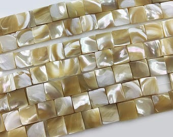12mm Square Shell Beads , Natural Shell Beads , freshwater shell , Jewelry DIY , Flat Shell Beads ,15.5 inch Full Strand