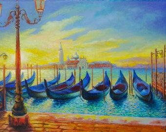 Venice Oil Painting On Canvas Venice Italy Gondola Wall Art Decor Original Oil Painting Impressionist Italian Landscape Sunset Venice Italy