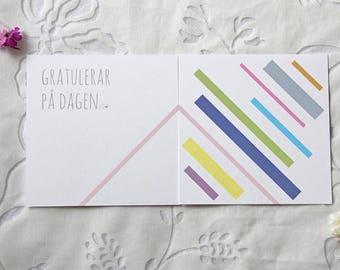 Birthday card (12x12 cm) with a pastel pattern design. Gratulationskort.