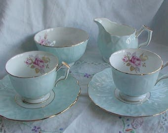 Aynsley Duck Egg Blue Vintage China Tea for Two Set Fine English Bone China
