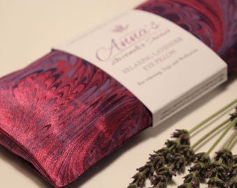 Relaxing Lavender Eye Pillow with Removable Cover - Hand Marbled Silk Purple