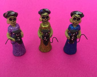 Mini Frida Kahlo Catrina with Monkey // Day of the Dead Decoration // Dia de los Muertos Miniatures for Alta
